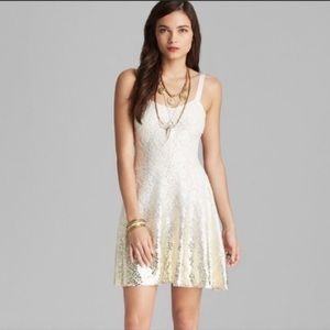 Free People Ombre Foil Lace Fit & Flare Dress S